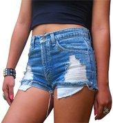 Qiyuxow Women's Juniors Distressed Cut Off Ripped Jean Shorts High Waisted Denim Shorts (M, )
