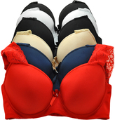 Angelina Navy & Red Lace-Overlay Full-Fit Demi Bra Set - Plus Too