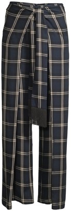 Mother of Pearl Geogina Front-Wrap Plaid Pants