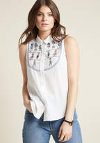 Embellished Sleeveless Blouse with Collar in XL - Button Down Waist by ModCloth