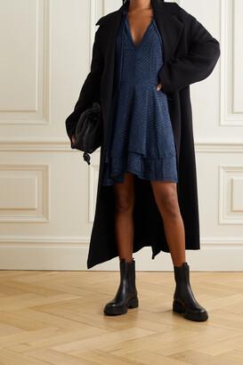 Alice + Olivia - Joanne Crochet-trimmed Fil Coupe Chiffon Mini Dress - Blue