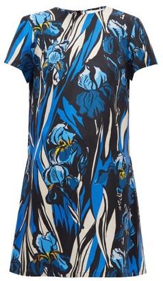 La DoubleJ Swing Peony-print Silk Dress - Blue Multi
