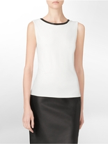 Calvin Klein Faux Leather Trim Tank Top