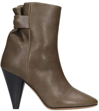 Isabel Marant Lystal High Heels Ankle Boots In Khaki Leather