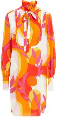 Rebecca Vallance Paradise Pussy-bow Printed Silk Crepe De Chine Mini Dress