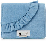 La Regale Denim Ruffle Convertible Clutch