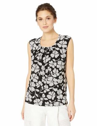 Kasper Women's Cap Sleeve Pleat Neck Floral Printed ITY