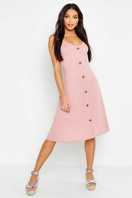 boohoo Ribbed Button Down Midi Swing Dress
