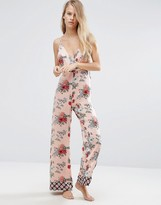 Asos Premium Mixed Floral & Tile Print Satin Jumpsuit