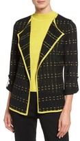 Ming Wang Women's Check Pointelle Knit Jacket