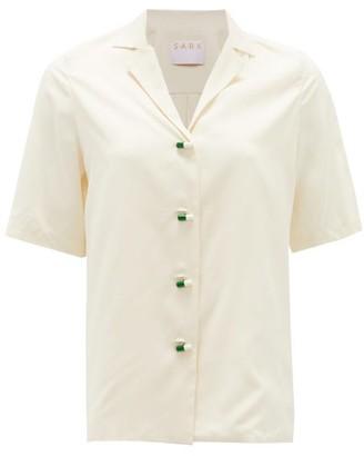 S.a.r.k - Daily Dose Pill-button Short-sleeved Silk Shirt - Cream