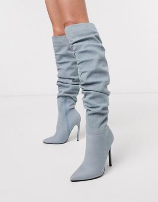 Asos Design DESIGN Carlotta slouch stiletto knee boot in denim