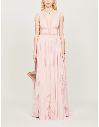 Costarellos Lace-trim V-neck silk gown