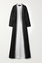 Thumbnail for your product : Reem Acra Embellished Layered Mikado-pique Gown - Black