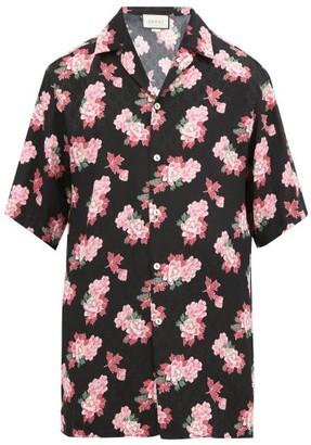 Gucci Peony Fantasy Camp-collar Silk Shirt - Black Multi