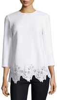 Elizabeth and James Florence 3/4-Sleeve Lace-Trim Crepe Top, Ivory