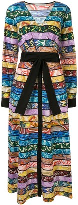 Mary Katrantzou Mixed-Stripe Wrap Midi-Dress