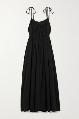 Apiece Apart Cecile Tie-detailed Gathered Organic Cotton Midi Dress - Black