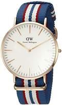 Daniel Wellington Belfast Rose Men's Quartz Watch with White Dial Analogue Display and Multicolour Nylon Strap 0113DW