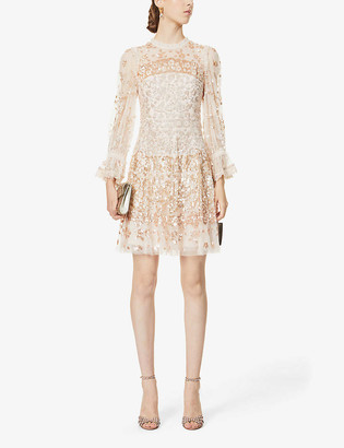 Sequinned semi-sheer tulle embellished mini dress