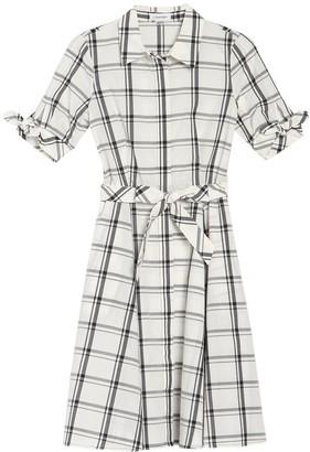 Calvin Klein Big Plaid Print Waist Tie Dress