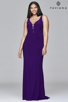 Faviana 9416 Long v-neck jersey dress with lace-up inserts