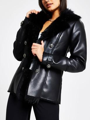 River Island Faux Fur Trim Pu Blazer Jacket - Black
