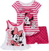 Children's Apparel Network Minnie Mouse Pink Stripe Tee Set - Infant, Toddler & Girls