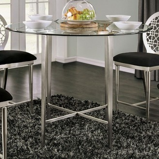 Furniture of America Shelley Contemporary 48-inch Round Silver Glass Top Counter Height Dining Table
