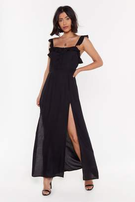 Nasty Gal Womens Know Slit All Ruffle Maxi Dress - Black - 6, Black