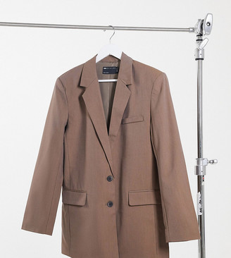 Asos Tall ASOS DESIGN Tall perfect slouch dad suit blazer in mocha