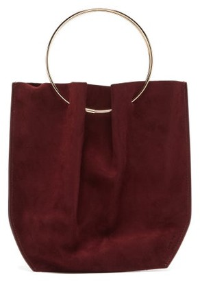 The Row Flat Mini Ring-handle Suede Clutch Bag - Womens - Dark Red
