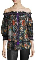Roberto Cavalli Floral-Print Chiffon Off-the-Shoulder Blouse, Black