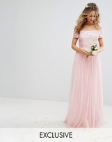 Maya Bardot Maxi Dress With Delicate Sequin And Tulle Skirt