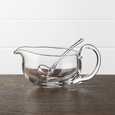 Crate & Barrel Deluxe Glass Gravy Boat with Ladle