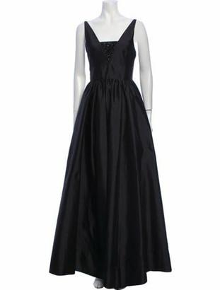 Valentino Square Neckline Long Dress Black