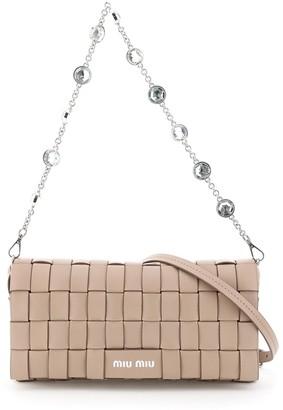Miu Miu Woven Crystal Embellished Strap Shoulder Bag