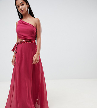 Asos DESIGN Petite maxi dress with sequin bow cut-out detail