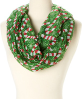 David & Young Green Candy Cane Infinity Scarf