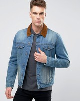 Asos Slim Fit Denim Jacket With Contrast Cord Collar In Blue