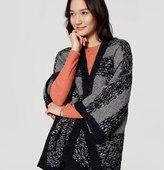 LOFT Petite Striped Open Poncho Sweater