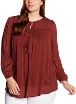 Yours Clothing YoursClothing Plus Size Womens Terracotta Sleeved Gypsy Blouse With Tasselled Neck Tie
