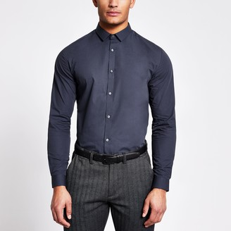 River Island Mens Navy long sleeve regular fit shirt