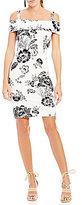 GUESS Elyza Floral Printed Cold Shoulder Sheath Dress