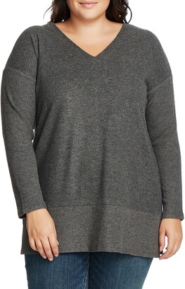 Vince Camuto Ribbed Sleeve V-Neck Tunic Sweater