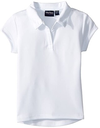 Nautica Short Sleeve Performance Polo (Little Kids) (White) Girl's Clothing