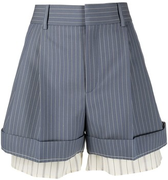 Chloé Double-Layer Pinstripe Tailored Shorts