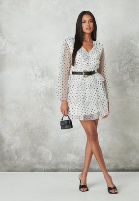 Missguided White Polka Dot Organza Frill Sleeve Skater Dress