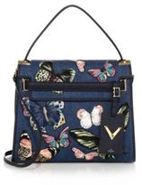 Valentino Butterfly Embroidered Denim & Leather Satchel
