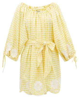 Innika Choo Frida Wailes Gingham Cotton Dress - Womens - Yellow Print